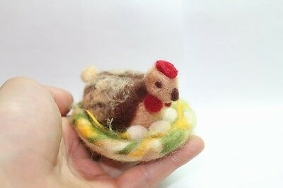 """OOAK Artist Needle FELTED small """"Hen with little Eggs"""" handmade with love #i026"""