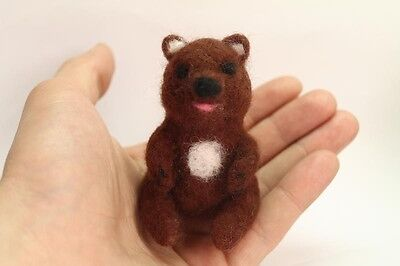 """OOAK Artist Needle FELTED small """"Russian brown Bear"""" handmade with love #i001"""