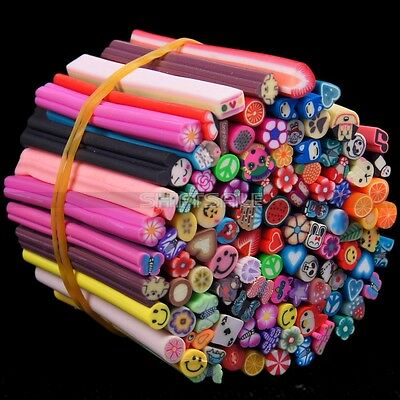 100pcs Nail Art Fimo Polymer Clay Flower Fruit Animal Design Canes Stickers Rod