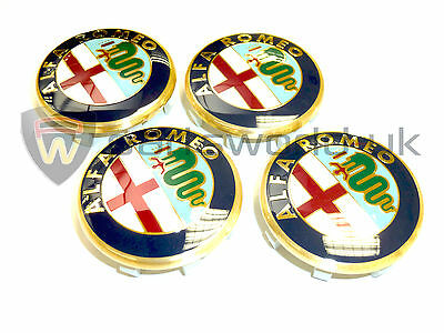 Set of 4 Genuine Alfa Romeo GTV & Spider 50mm alloy wheel centre caps 60652886