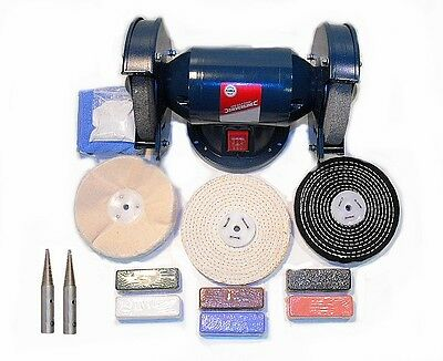 "200W Bench Grinder - General Purpose Metal Polishing Kit -  6"" x 1/2"" Mops"
