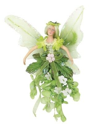 """8"""" Attractive Christmas Holiday Mini Flower Fairy Figurine Green A30838"""