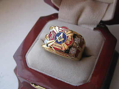 "Superb NEW! Gold Mens ""Masons Firefighters"" Crest Ring *"