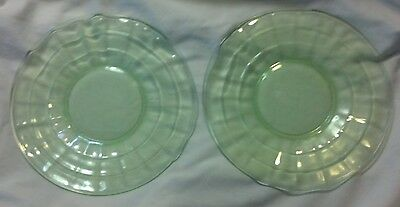 PAIR OF 2 HOCKING BLOCK OPTIC GREEN DEPRESSION GLASS 6-1/4'' SAUCER PLATES