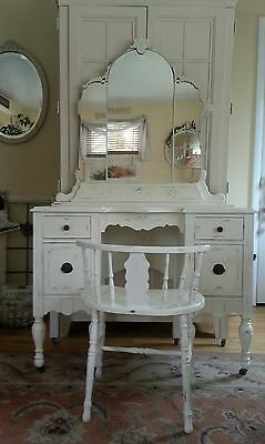 Antique Creamy White Distressed Depression Wood Vanity Dressing Table & Bench