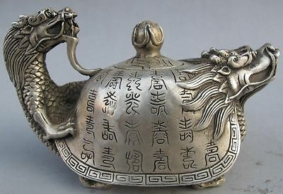 China Silver cupronickel Dragon teapot old hand handicraft