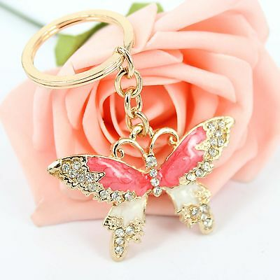 New Dragonfly Tombo Rhinestone Crystal Pendent Charm Purse Bag Key Chain Ring