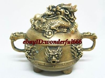 Chinese Classical Brass Beautiful Statue Dragon Censer Incense Censer High:8cm