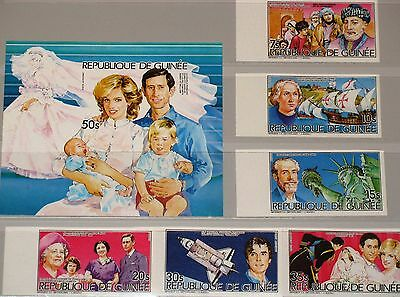 GUINEA 1985 1035-40 Block 144 B 932-938 Royals Charles & Diana with Child Harry