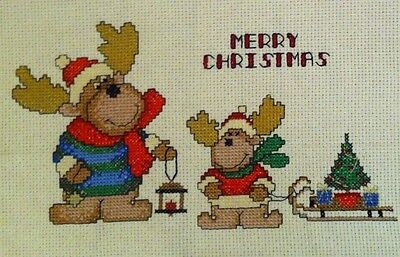 X LARGE completed cross stitch piece Christmas Deer's Family Fir-tree HANDMADE