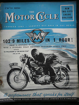 Matchless 102.9 Mph Cover / The Motorcycle 22/05/1958 / Vintage Magazine