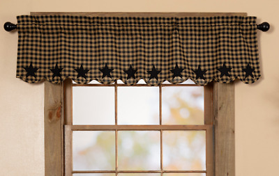 """BLACK STAR SCALLOPED Window Valance Rustic Country Khaki Check Lined VHC 60"""""""