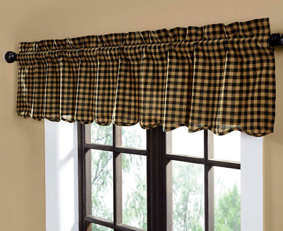 BLACK CHECK Scalloped Window Valance Rustic Country Khaki Primitive VHC 72""