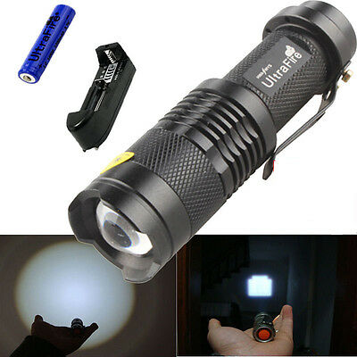 1500Lumen CREE Q5 LED Flashlight Torch Zoomable Lamp Light+14500 Battery+charger