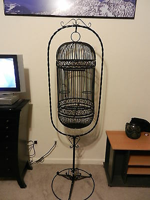 Antique Twisted Wrought Iron BIRD CAGE & Stand Beautiful Ornate Bird Cage