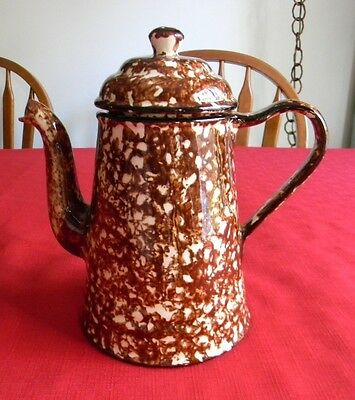 1970's Stangl Pottery Brown Spatterware Town and Country (5 Cup) Coffee/ Tea Pot