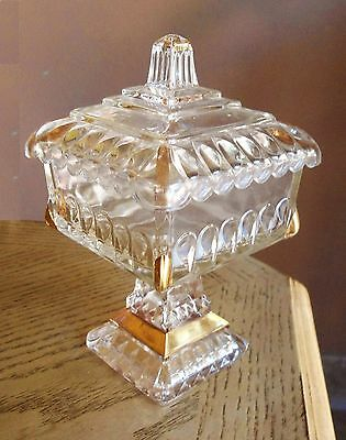 Old Vintage_Lidded Clear Glass Candy Dish with Gold trimming_Serving Bowl Plate