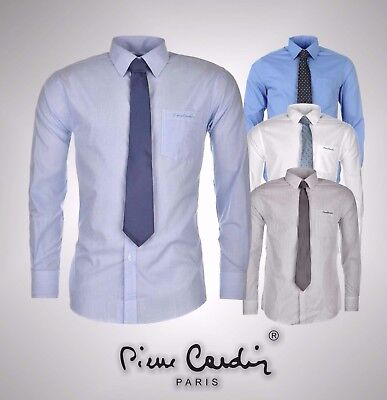 Mens Pierre Cardin Standard Collar Shirt and Tie Set Long Sleeves Size S-XXXXL