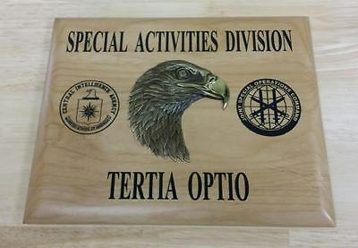 CIA NCS Special Activities Division JSOC Insignias Maple Plaque 3D Eagle 8x10