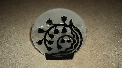 PARTYLITE BLACK FLOWERING AND FROSTED GLASS  VOTIVE CANDLE HOLDER