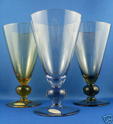 Vintage STAR Hand-Crafted HARLEQUIN Colour Art Glass COCKTAIL GLASSES - in Aust