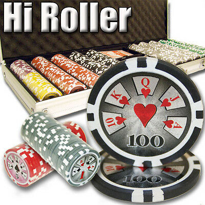 New 500 High Roller 14g Clay Poker Chips Set with Aluminum Case - Pick Chips!