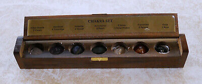 7 Piece Chakra Stone Kit  in Wooden Box & Chakras booklet (new age)(brand new)