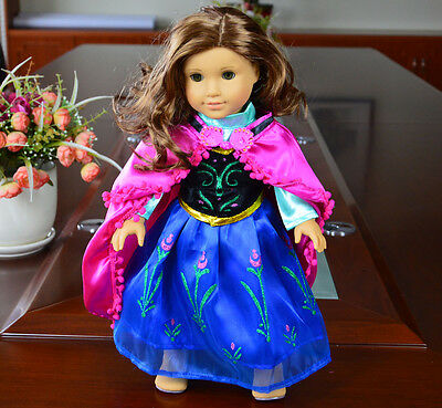 "Doll Clothes fits 18"" American Girl Handmade Blue Party Dress"