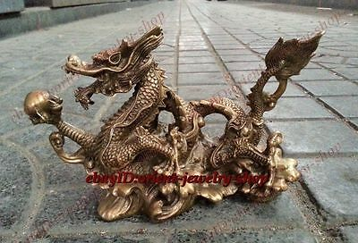 Chinese Collection copper dragon bronze carvings Folk Holy Lucky brass Statues