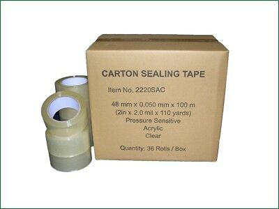 "Clear Carton Sealing Packing Tape 2"" x 330' / 48 mm x 110 yards (1 or 36 rolls)"