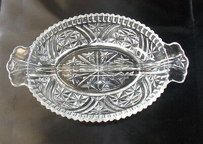 VINTAGE ANCHOR HOCKING STARS BARS DIVIDED CLEAR PRESSED GLASS RELISH TRAY