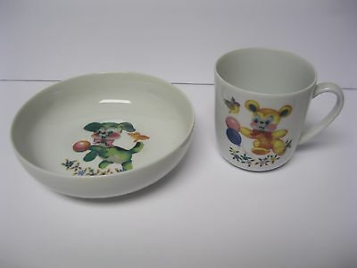 Vintage Childrens Bowl Cup Arzberg made in 1 Germany 4 Childs Dog Cat Lamb