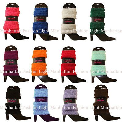 Choose a Color! Stretchy,Soft & Cozy,Fuzzy Leg Warmers White,Blue,Pink,Brown