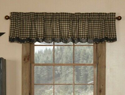 BLACK CHECK LAYERED Scalloped Window Valance Rustic Primitive Country Khaki 72""