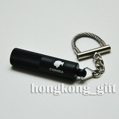 COHIBA Cigar Punch Cutter Stainless Steel with Key Chain Ring black box set 704B