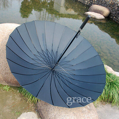 2 PC Hand open Long umbrella men golf umbrella black Large Rain Umbrella