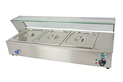 NEW ACE 5 x100mm deep PAN WET WELL BAIN MARIE SERVERY HOT FOOD DISPLAY GLASS TOP