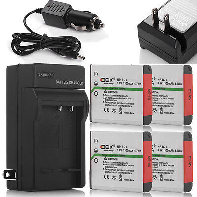 4x 1300mAh NP-BG1 Battery +Charger For Sony Cyber-Shot DSC-H55 H70 H90 HX5V HX7V