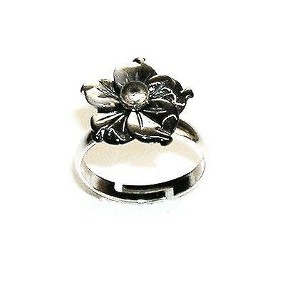 ANILLO FLOR de Madreperla Gris natural 15 mm. Anillo ajustable