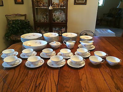 """Vintage Lacco China """"PETITE ROSE"""" set of dishes, 61 Pieces"""