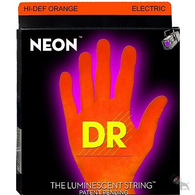 DR Strings NOE-10 Neon Orange Hi-Def Medium Electric Guitar Strings (10-46)