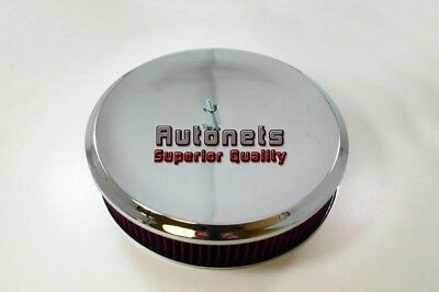 """14"""" Round Deep Dish Style Washable Element Chrome Air Cleaner Street Hot Rod Rat"""