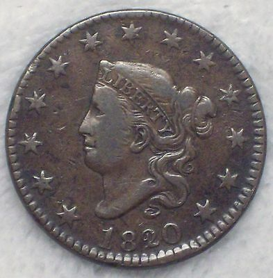 1820 over 19 CORONET Large Cent *RARE* N-1 VF+/XF Detailing - Nice Brown Tone
