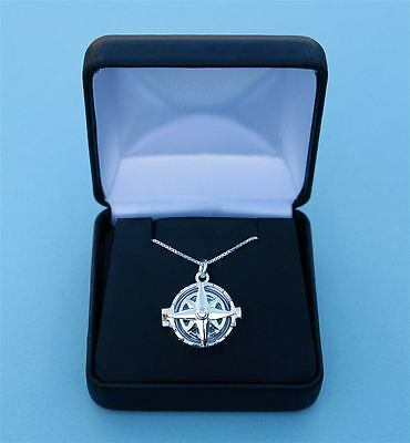 General Hospital Compass Rose Design Sterling Silver Compass Locket & Chain