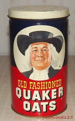 Vintage 1982 Quaker Oats Metal Advertising Tin w/ Oatmeal Cookie Recipe on Back