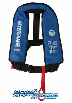 Watersnake Inflatable Life Jacket PFD Level 150/150N Manual Adult - Blue @ Ottos