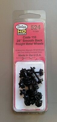 "Kadee HO Scale Metal Wheels #524 - 28"" Smooth Back Freight Wheels (12 Pcs) - New"