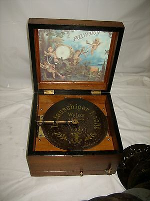 ANTIQUE VICTORIAN POLYPHON DISC MUSIC BOX!