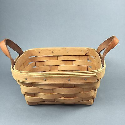Longaberger Classic Stain 1992 TEA Basket With Leather Loop Handles