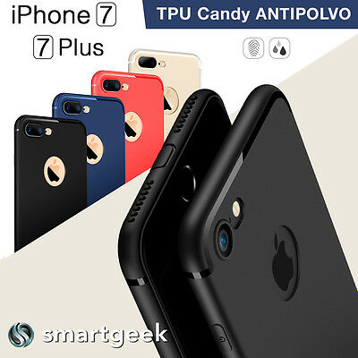 FUNDA TPU Gel ANTIPOLVO para iPHONE 7 iphone7 Plus logo colores camara case dust